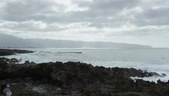 Sharks Cove Shoreline, North Shore, Oahu, Hawaii, 60p - stock footage