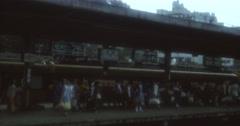 Japan 70s 16mm Atami Nagoja Train Station People Stock Footage