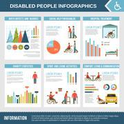 Disabled Infographics Set Stock Illustration