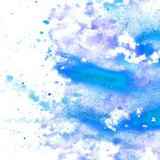 Abstract blue watercolor blot texture patch  on white background Stock Illustration