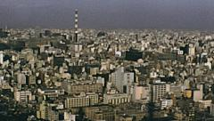 Tokyo 1975: panorama of the city from the tower - stock footage