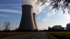 Nuclear station against the sky - stock footage