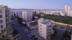 Aerial skyline view of Limassol city in evening, Cyprus Stock Footage