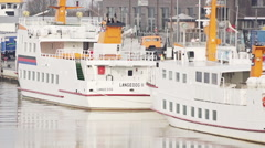 Ferry boats in a harbor. Stock Footage