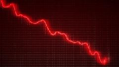 Graph moving down on chart as recession or  financial crisis Stock Footage