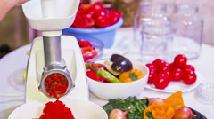 Red Paprika Mash Preparation With Help of Mincing Machine Stock Footage