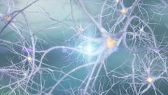 Neurons 3d animation, blue background Stock Footage