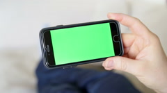 Green screen insde phone with fingure touch screen gestures Stock Footage