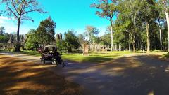 SIEM REAP, Traffic on the junction  in front of Bayon temple. Stock Footage