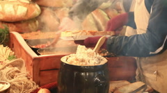 Sale of traditional Polish food - smalec at  Christmas fair in Krakow Stock Footage