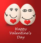 valentines day my egg happy love red heart - stock illustration