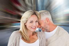 Composite image of happy couple laughing together woman looking at camera Stock Illustration