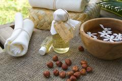 A bottle of hazelnut oil - stock photo