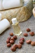 A dropper bottle of hazelnut oil - stock photo