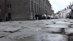 Cobbled street in a small town in France - stock footage