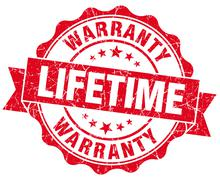 Stock Illustration of lifetime warranty red grunge seal isolated on white