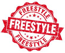 freestyle red grunge seal isolated on white - stock illustration