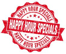 Stock Illustration of happy hour specials red grunge seal isolated on white
