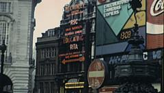 London 1979: billboards in Piccadilly circus Stock Footage