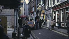 London 1979: people walking in the street Stock Footage