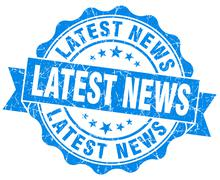 latest news blue grunge seal isolated on white - stock illustration