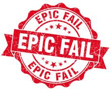 epic fail red grunge seal isolated on white - stock illustration