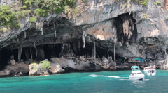 Cave ocean birds nest Thailand  Stock Footage