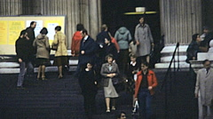 London 1979: people at the entrance of Saint Paul Cathedral Stock Footage