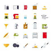 Flat Design Cooking and Kitchen Vector Icon Collection - stock illustration