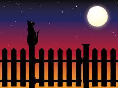 Cat sitting on picket fence post in moonlight - stock illustration