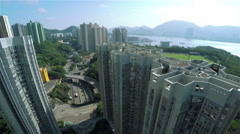 4K Aerial Shot of Hong Kong Residential District. - stock footage