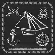 Pirate icons - sloop, cutlassand Jolly Roger - stock illustration
