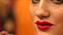 Bright make-up - lipstick closeup - stock footage