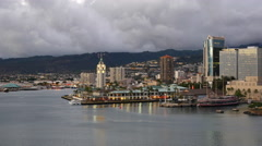 Oahu Honolulu Aloha Tower lights on 4k - stock footage