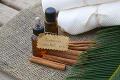 Cinnamon essential oil Stock Photos