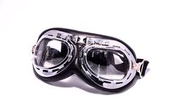 Black retro vintage leathern goggles Stock Photos