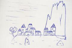 village near a peak, sketch - stock illustration