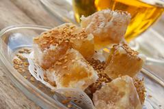 Turkish delight with sesame seeds on the plate Stock Photos