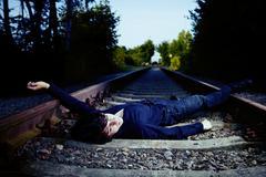 Sorrow on railway - stock photo