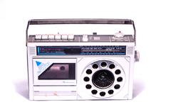 old retro vintage 70's radio - stock photo