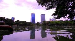 Bangkok city view. Public Garden. HD. 1920x1080 Stock Footage