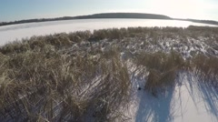 Panorama of winter lake Stock Footage