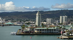Oahu Honolulu Aloha Tower waterfront 4k Stock Footage