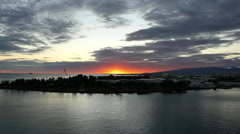 Oahu Honolulu harbor with sunset and clouds 4k. Stock Footage
