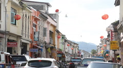Colonial street tracking Thailand Stock Footage