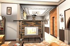 Cottage Interior - stock illustration