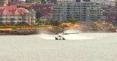 4K Seaplane Take Off, Float Plane on Water Stock Footage