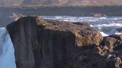 Iceland, Godafoss, Edge of Waterfall Stock Footage