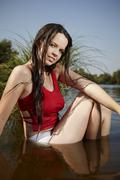 Beauty girl possing in the wather - stock photo