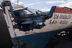 A wrecked longboat - stock photo